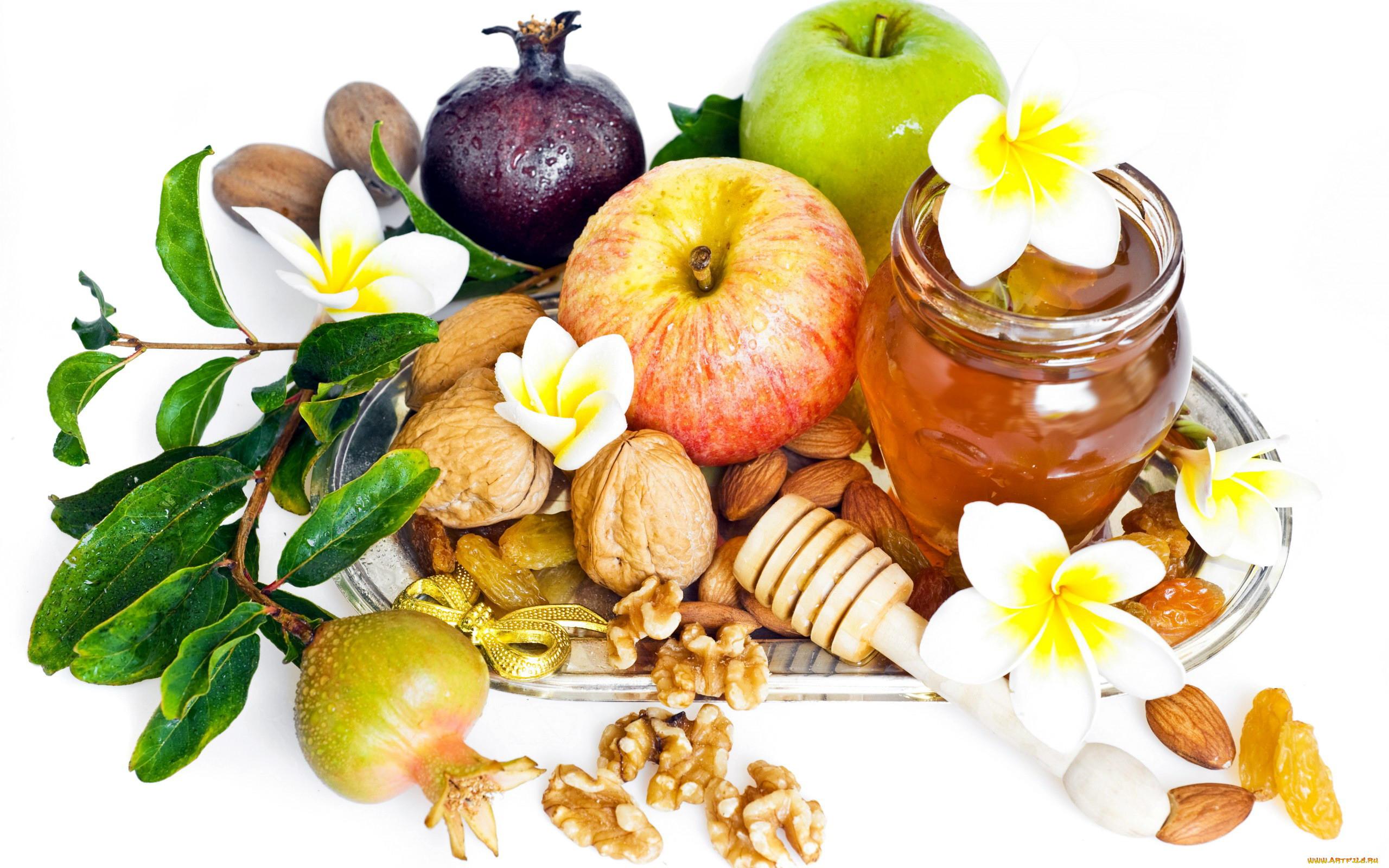 Картинка с яблоками и медом